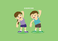 Exercising Couple Cute Vector Cartoon Characters. Sporty young couple doing stretching warm up exercises. Vector illustration isolated on green background Royalty Free Stock Photos
