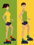 Exercising couple, fitness man and woman. Flat design illustration Stock Image