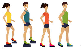 Exercising couple, fitness man and woman. Flat Stock Photos