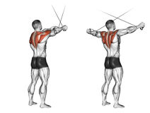 Exercising. Cross hands ago from the upper blocks. Cross hands ago from the upper blocks. Exercising for bodybuilding. Target muscles are marked in red. Initial stock illustration