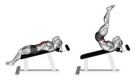 Exercising. Decline Reverse Crunch Stock Image