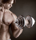 Exercising with dumbbell Royalty Free Stock Photo