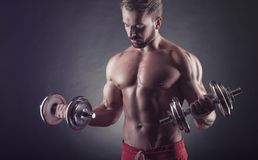 Exercising with dumbbell Stock Photography
