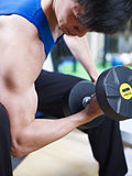 Exercising with dumbbell Royalty Free Stock Images