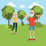 Exercising for elderly. Senior couple doing fitness in the park stock illustration