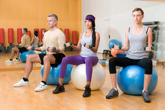 Exercising with fitness ball Royalty Free Stock Photos