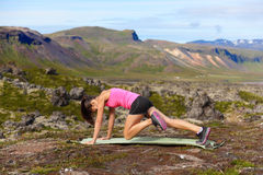 Exercising fitness woman doing exercises Stock Photo