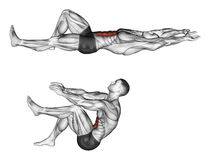 Exercising. Flexion of the trunk with the legs pulling. Flexion of the trunk with the legs pulling. Exercising for bodybuilding Target muscles are marked in red stock illustration
