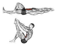 Exercising. Flexion of the trunk with the legs pulling up the leg Stock Image
