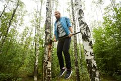 Exercising in the forest royalty free stock photos