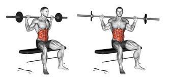 exercising Gezette Barbell-Draai vector illustratie