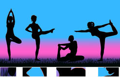 Exercising girls. Silhouettes of exercising girls in the morning Royalty Free Stock Image