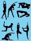 Exercising girls. 8 Silhouettes of exercising girls Stock Images