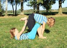 Exercising girls Stock Image