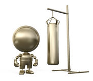 Exercising gold robot - boxer. Strong gold robot - boxer stands near the golden pear Royalty Free Stock Photos