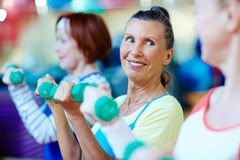 Exercising in group stock photo