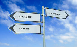 Exercising, health, illness. Road sign to exercising, health, illness Royalty Free Stock Photo