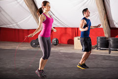 Exercising with a jump rope Royalty Free Stock Photos
