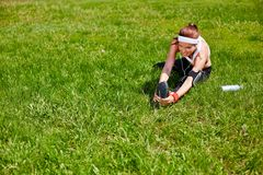 Exercising on lawn Stock Photos