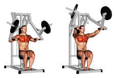 Exercising. Lever Chest Press plate loaded. Lever Chest Press plate loaded. Exercising for bodybuilding Target muscles are marked in red Stock Images