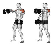 Exercising. Lifting dumbbell forward alternately Royalty Free Stock Photo