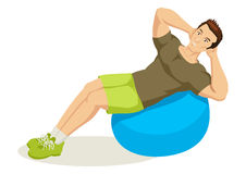 Exercising Man. Cartoon illustration of a man exercising using fitness ball Stock Image