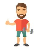 Exercising, man holding dumbells. A caucasian man holding dumbells and showing his approve finger sign. A Contemporary style. Vector flat design illustration Stock Photography