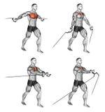 exercising Midden en Lage kabelvlieg stock illustratie