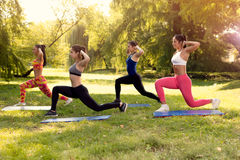 Exercising In Nature. Four beautiful female friends doing exercise in the park Royalty Free Stock Photo