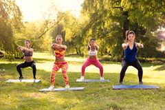 Exercising In Nature. Four beautiful female friends doing squats exercise in the park Royalty Free Stock Image