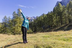 Exercising in nature. Time to take care of yourself. Exercising in nature. Outdoor activities in the fresh air Stock Images