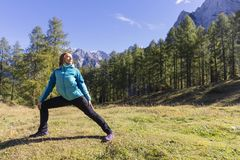 Exercising in nature. Time to take care of yourself. Exercising in nature. Outdoor activities in the fresh air stock photo