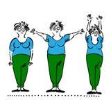 Exercising old woman. Pilates poses set Royalty Free Stock Photo