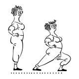 Exercising old woman. Pilates poses set Royalty Free Stock Photos