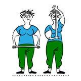 Exercising old woman. Pilates poses set Royalty Free Stock Image