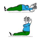 Exercising old woman. Pilates poses set Stock Photography
