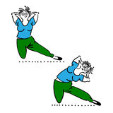 Exercising old woman. Pilates poses set Royalty Free Stock Images
