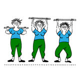 Exercising old woman. Pilates poses set Stock Photo