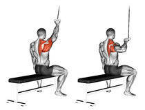 Exercising. One handed lat pulldown Stock Photo