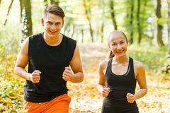 Exercising outdoor runners Royalty Free Stock Images