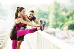 Exercising outdoors Royalty Free Stock Images