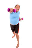 Exercising overweight man Royalty Free Stock Photography