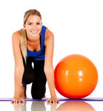 Exercising with pilates ball Royalty Free Stock Photography