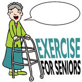 Exercising Senior Lady with Walker Royalty Free Stock Images