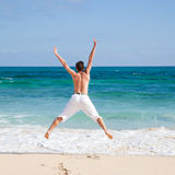 Exercising by the shore Royalty Free Stock Images