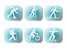 Exercising silhouettes buttons Royalty Free Stock Images