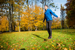 Exercising with skipping rope Stock Photo