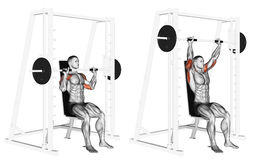 Free Exercising. Smith Machine Shoulders Press Stock Photography - 67126602