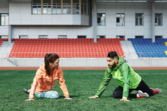 Exercising in the stadium Stock Photos