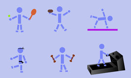 Exercising Stick Figure Stock Photo